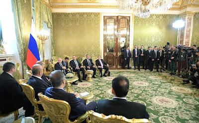 Vladimir Putin, Recep Tayyip Erdogan, diplomats.