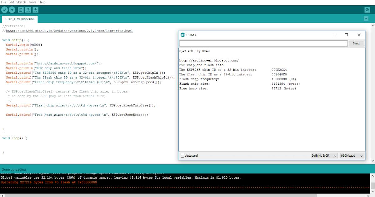 Arduino er nodemcu esp get chip and flash info