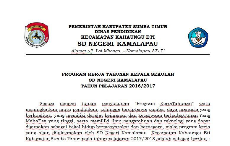 Download Program Kerja Kepala Sekolah Sd Ta 2017 2018 Wali Kelas