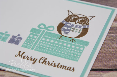 Merry Christmas Owl Card featuring the Cozy Critters Stamp Set from Stampin' Up! UK which you can get here