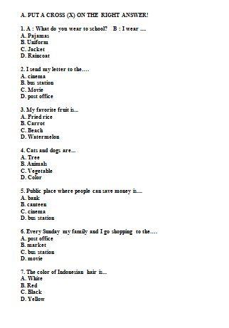 Soal Bahasa Inggris Untuk Sd Kelas 4 Bentuk Pilihan Ganda Dilengkapi Dengan Kunci Jawaban