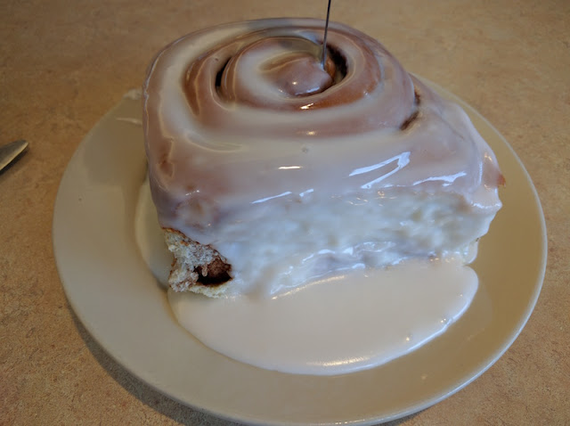 Giant cinnamon roll at Johnson's Corner in Denver
