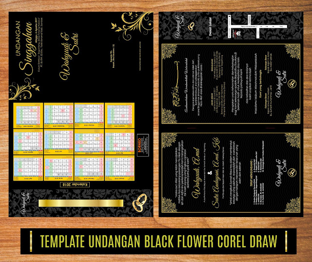 Template Undangan Black Flower Vintage Corel Draw