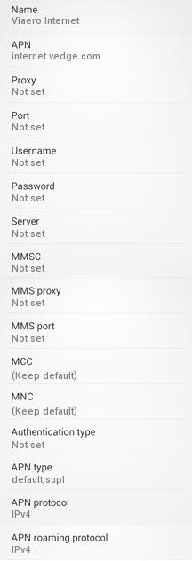 Viaero Wireless APN Settings for Android/Galaxy S6