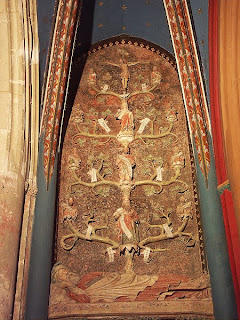 The Tree of Life emerging from the navel of Jesse, with Jesus shown on top of the tree. Basilique Saint-Quentin, France