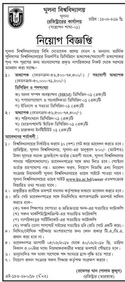 Khulna University (KU) Lawer Job Circular 2018