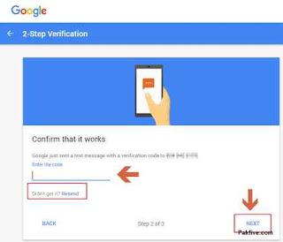 2-step Verification confirms phone