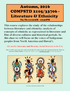 Autumn 2016. Comparative Studies 2105: Literature and Ethnicity Flyer PDF.