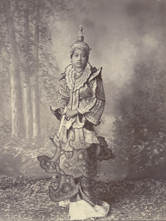 Burmese princess or dancing girl in court costume, 1890