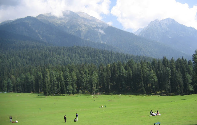 Backpack Trekking In India - Grass meadows and the view of Pahalgam valley