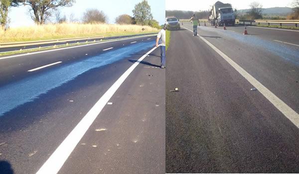 Caminhão perde o cardã e derrama grande quantidade óleo na rodovia Pinhal x Mogi Guaçu