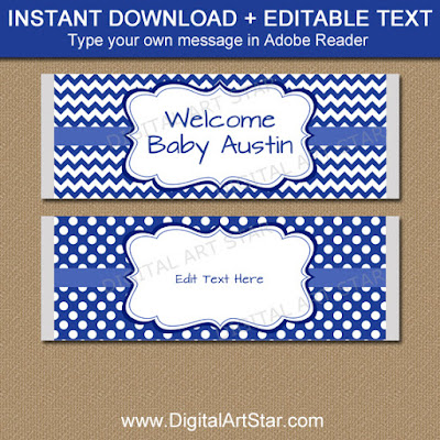 blue baby shower candy bar wrapper template
