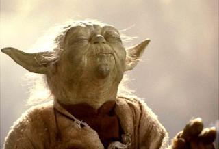 Star Wars Yoda meditating.