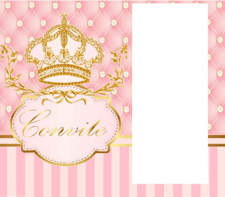 Golden Crown in Pink: Free Printable Invitations.