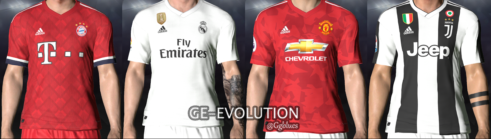 Adidas Home Kits 2018/19 (Leaked/Concept) for PES 2017