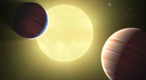 Illustration exoplanet orbiting its star