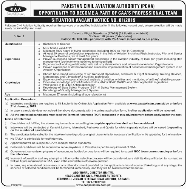 Advertisement for the Pakistan Civil Aviation Authority Jobs