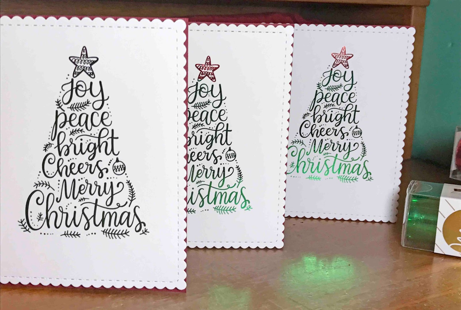 with double sided 3d foam tape adhere the image to the front of your card you christmas card is finished - Foil Christmas Cards