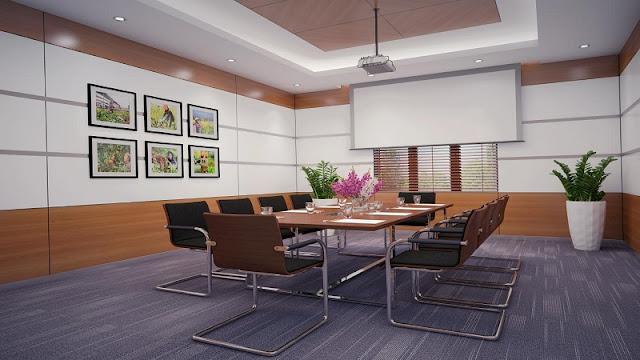 Trong mẫu thiết kế nội thất phòng họp này sử dụng hệ thống nội thất đơn giản nhưng phòng họp vẫn đầy cuốn hút bởi khung cảnh thiên nhiên rộng lớn bên ngoài