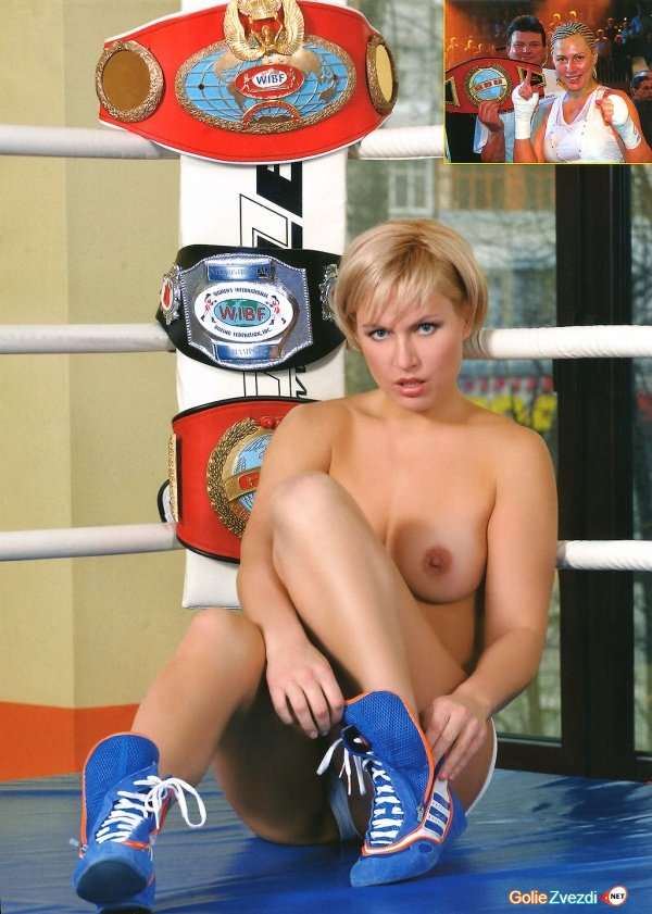 Women boxing topless tits