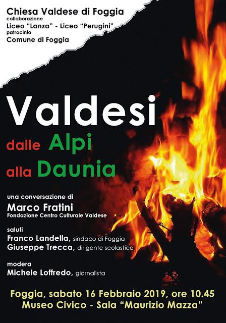 Foggia, Sabato 16 febbraio, convegno sulla storia dei Valdesi nel Mezzogiorno