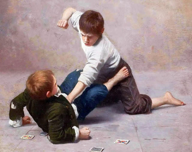 two boys in a fist fight over a card game