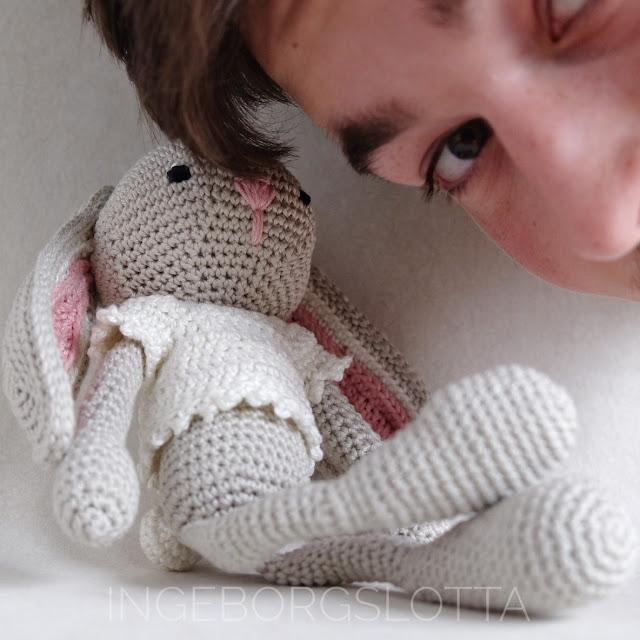 Photobombing amigurumi bunny