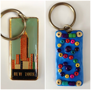 Keyring beaded upcycle using Sugru craft