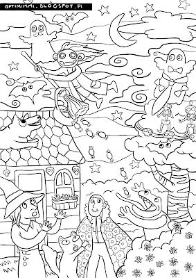 A coloring page about Halloween / Värityskuva Halloweenista