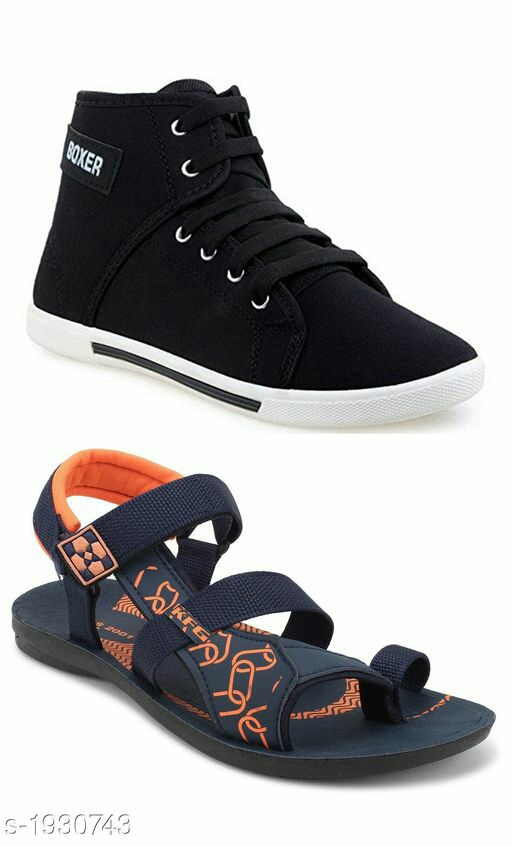Stylish Trendy Canvas Men's Shoes & Sandal Combo
