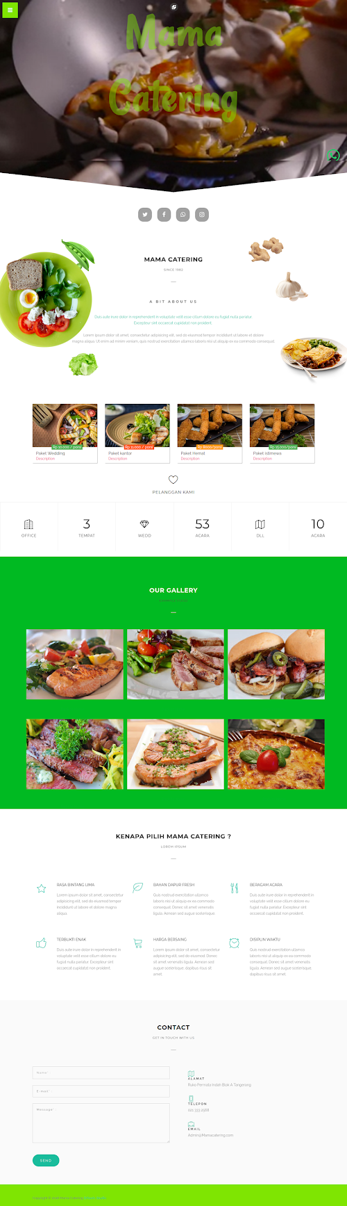 UKM Blogger Landing page Template : Mama Catering Style