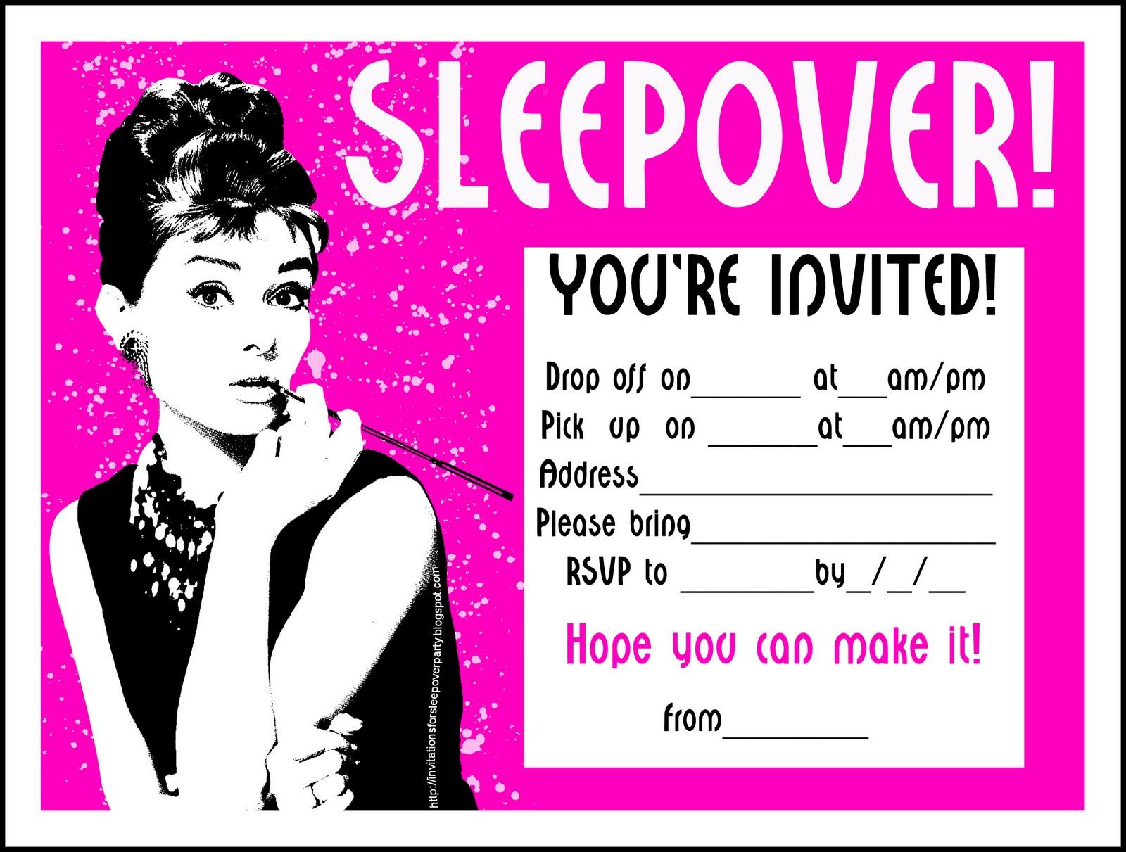 sleepover invitation template com sleepover invitation template sleep over printable