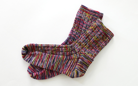 Hand Knit Wool Socks in Twin Rib Pattern