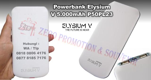 Powerbank Elysium V 5.000mAh P50PL23, Barang Promosi Powerbank Asven, Souvenir Kantor Premium Powerbank Custom + cetak logo Anda sendiri