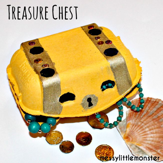 Egg carton treasure chest craft for kids