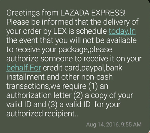 Lazada Delivery text message