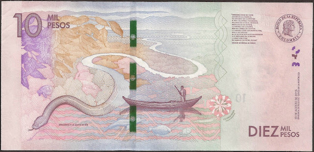 Colombian money currency 10000 Pesos banknote 2016 Amazon river of Colombia