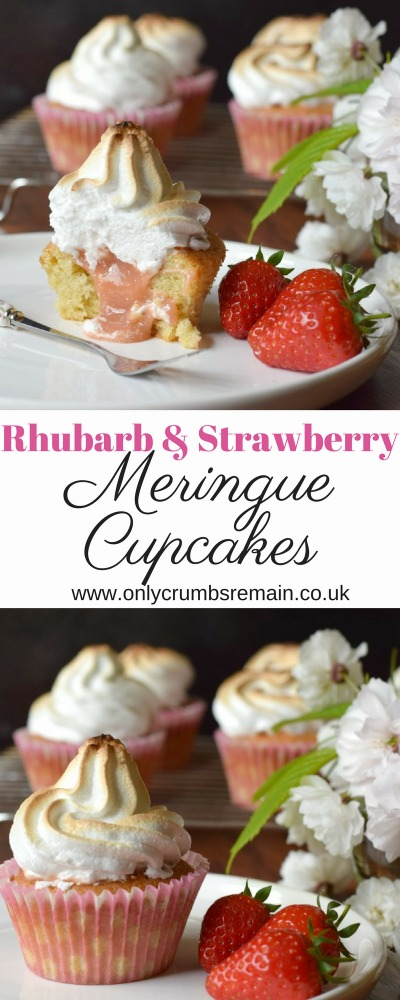 How to make Rhubarb and Strawberry Meringue Cupcakes, topped with Italian meringue and filled with homemade curd
