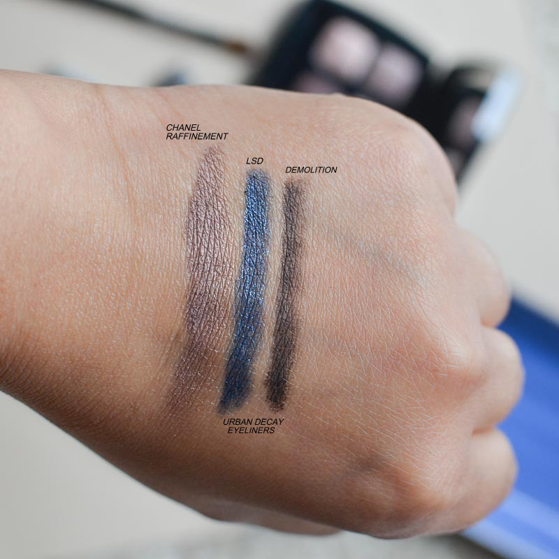 Smudged Shimmer Blue Brown Eyeliner Makeup Tutorial - Swatches - Chanel Raffinement Eyeshadow - Urban Decay Eyeliner LSD Demolition