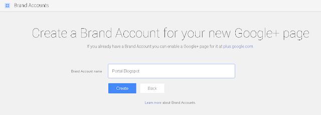 Langkah 3 Membuat Brand Accounts di Google Plus