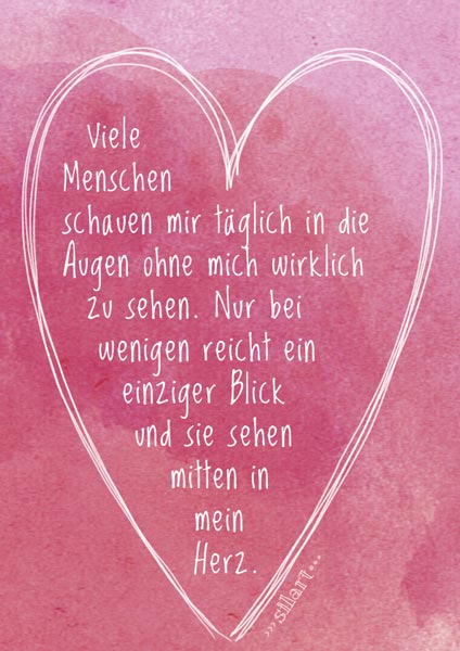 Mitten ins Herz, Lettering card