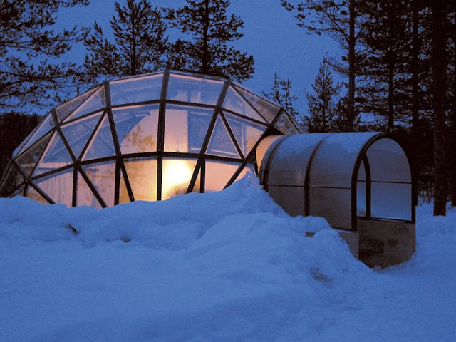 glass igloo lapland finland
