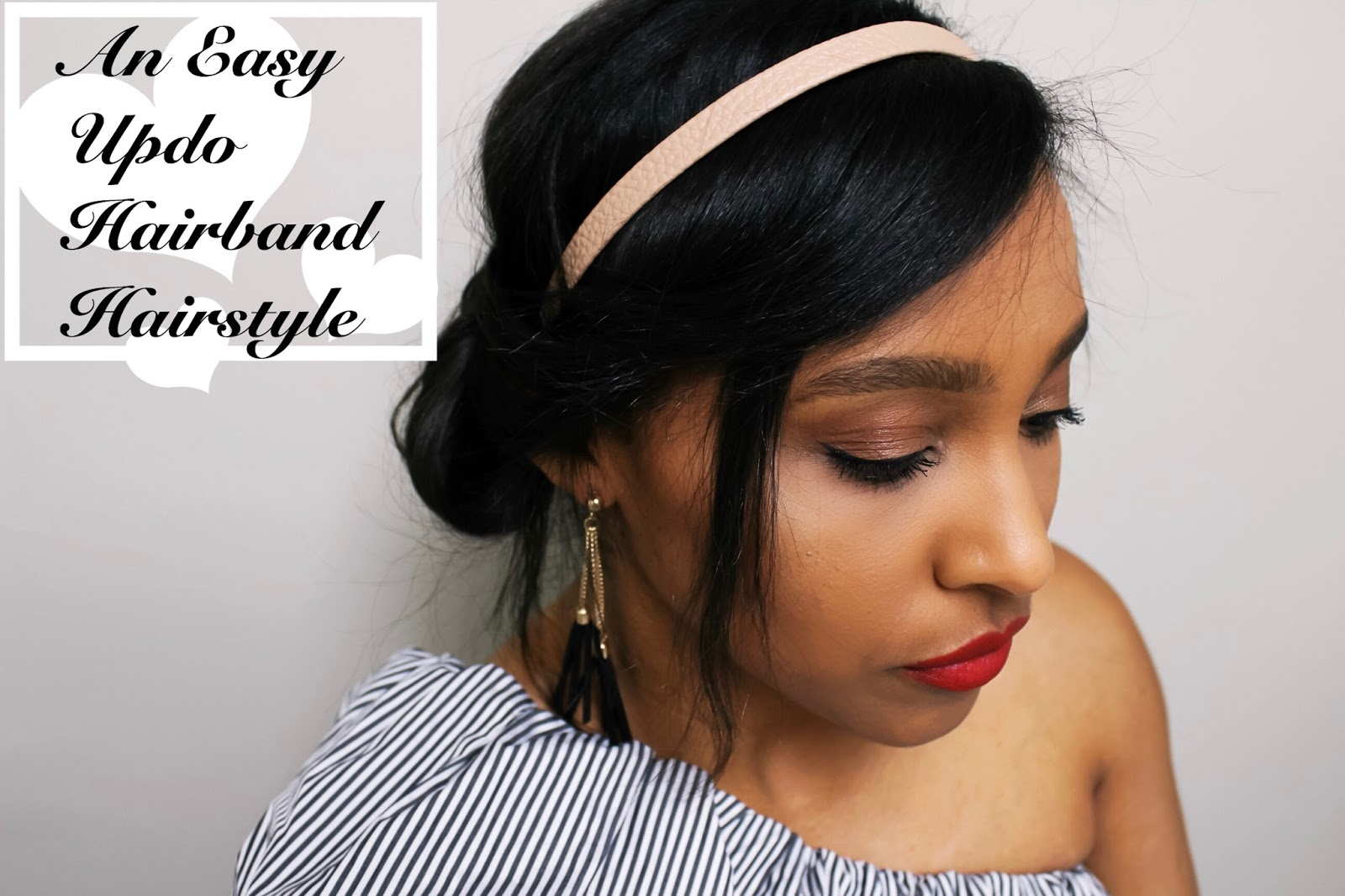An Easy Updo Hairband Hairstyle, Fromm beauty, head band, boby pin, hair ties, ulta, cvs, hair products, short hair styles, headband hair styles, hair styles for short hair, bob hair cut, hair tutorial