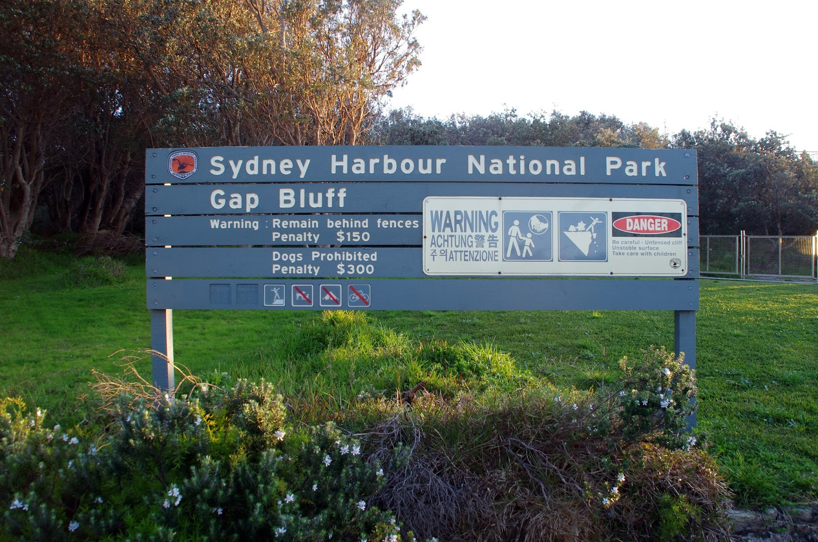 Sydney Harbour national park sign