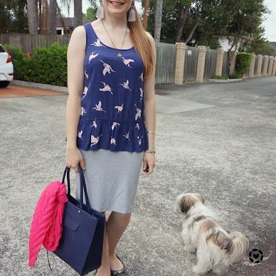 awayfromblue instagram   summer office otufit grey knit pencil skirt pink scarf navy bird print peplum top and tote bag