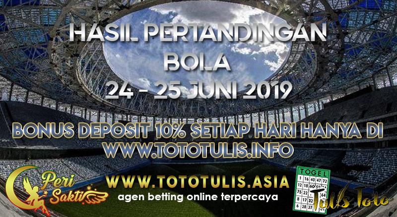 HASIL PERTANDINGAN BOLA TANGGAL 24 – 25 JUNI 2019