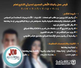 وظائف محاسبين شاغرة  في البنك الاهلى المصرى بتاريخ اليوم
