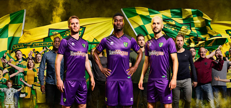 The Norwich City 17-18 third kit was released this morning. It is again  made by Errea and features new shirt sponsor LeoVegas on the front. 974a1f2b2