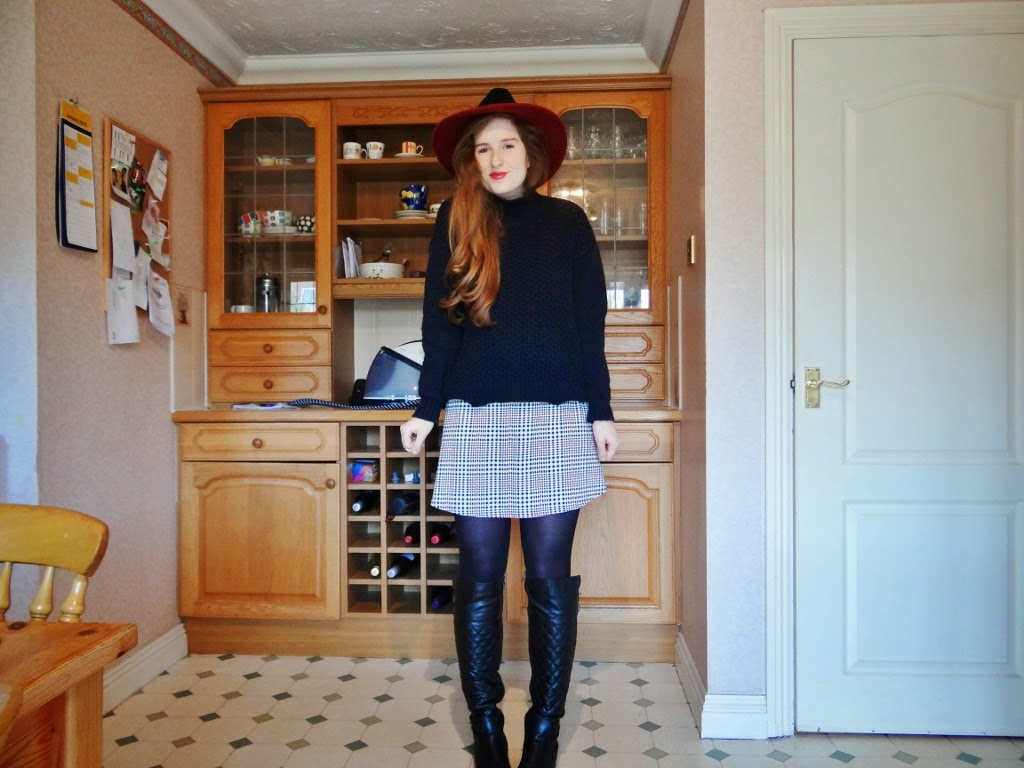 polo neck knit, fedora, riding boots