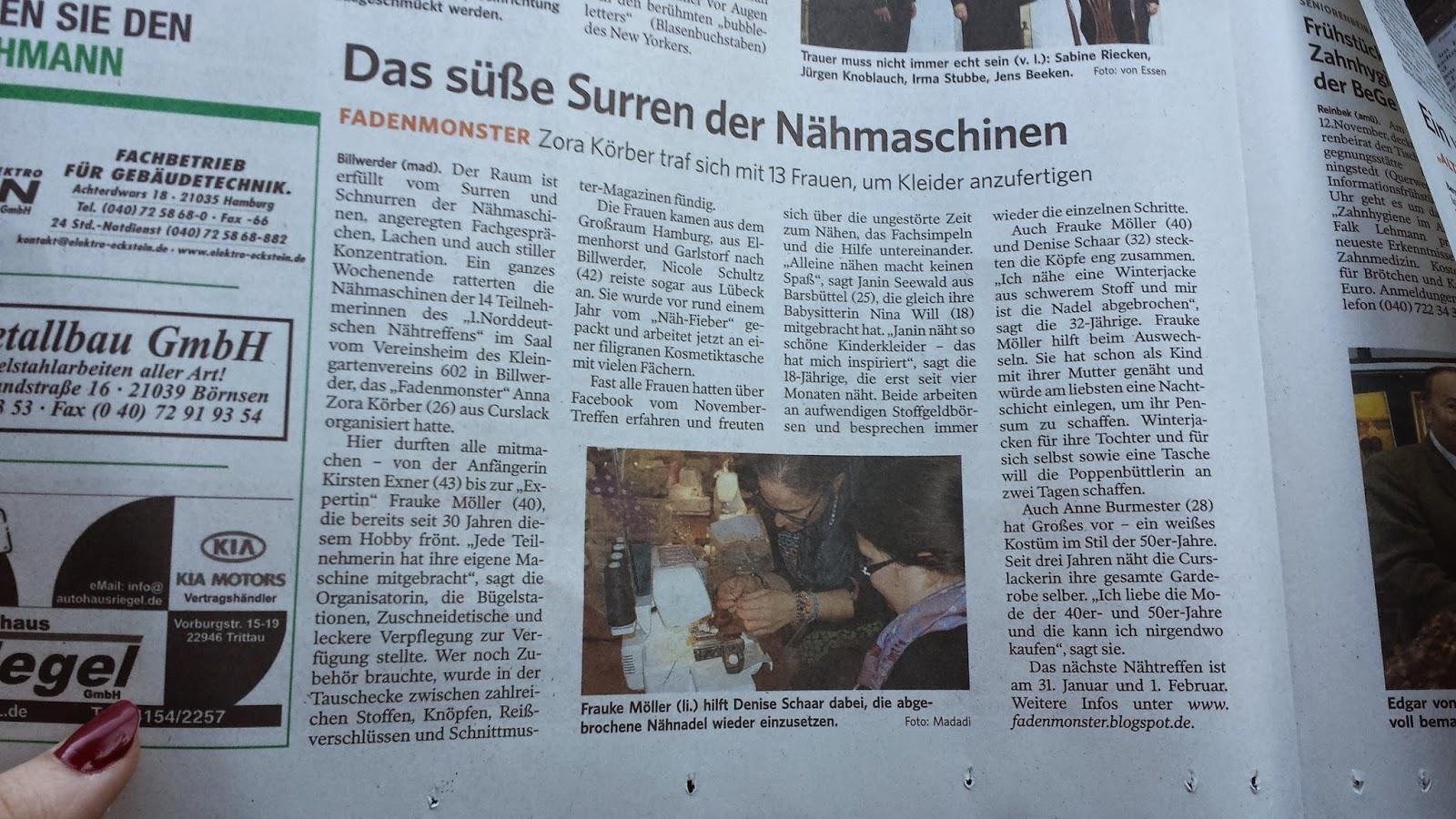 Fadenmonster Das 1 Norddeutsche Nähtreffen Berichterstattung